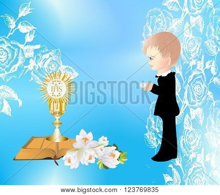 background with a boy and characteristic symbols of Holy Communion