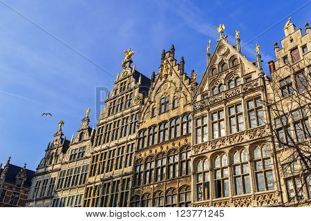 Guildhouses in Grote Markt (Big Market Square) in the old town of Antwerp, Belgium