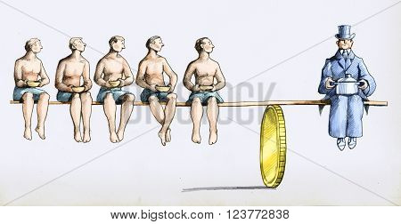 a rich man with a pot weighs as many skinny men with a bowl over a balance supported by a coin