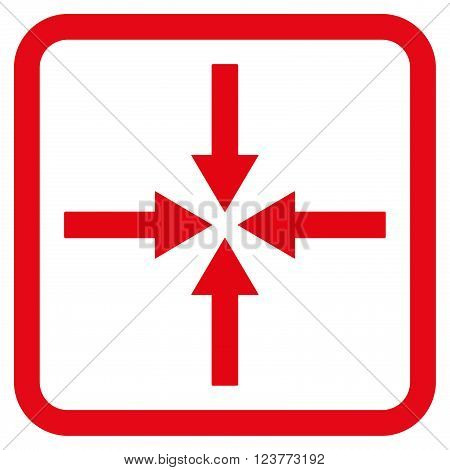 Impact Arrows vector icon. Style is flat symbol in a rounded square frame, red color, white background.