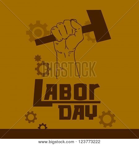 Hand Hold Hammer Labor Day May Worker Holiday Vector Illustration