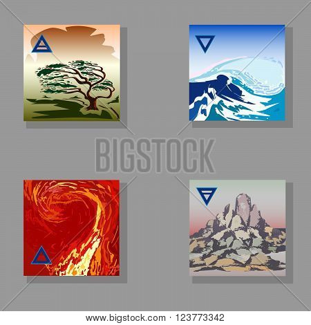 symbolic image of the four elements of nature (Fire, Water, Earth, Air)hand-drawing