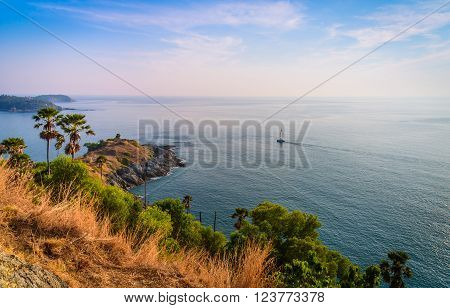 Phromthep cape viewpoint at blue sky in PhuketThailand