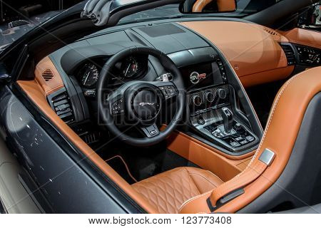 NEW YORK - MArch 23: Jaguar F Type SVR exhibit at the 2016 New York International Auto Show during Press day,  public show is running from March 25th through April 3, 2016 in New York, NY.