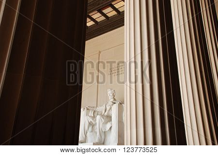 Lincoln Memorial Statue Between the Columns Inside