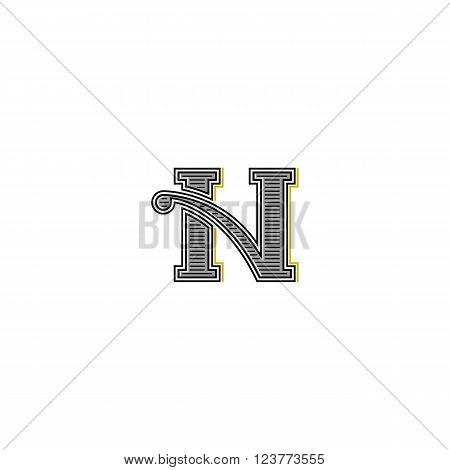 Western N Letter Logo, Vintage Gothic Wedding Invitation Emblem, Retro Business Card Initial