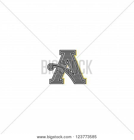 Retro Letter Logo, Typography Monogram Wedding Invitation Initial, Mockup Business Card Vintage Embl