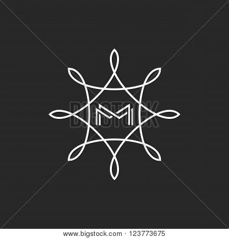 Hipster Monogram Mm Letters Initials, Boutique M Logo, Floral Fame Wedding Invitation Emblem Mockup
