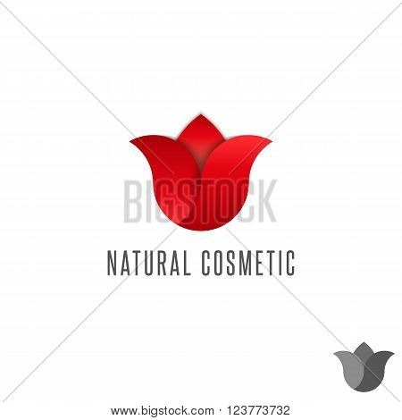 Gradient tulip logo red flower beauty parlor mockup emblem graphic design organic cosmetic salon symbol