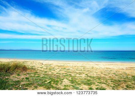 Fiume Santo shoreline under clouds in Sardinia