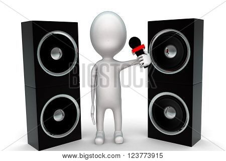 3D Man Holding Mic In Hand With Large Speakers Near By Concept