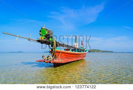 Long boat and tropical beach in Andaman Sea Phuket Thailand