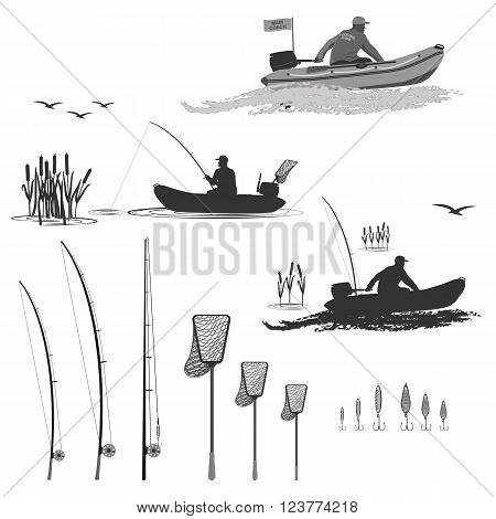 head coach of the club fishermen rides on a rubber boat with a motor. fisherman in a boat catches a fish