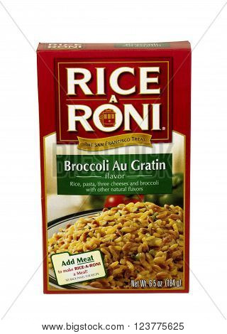 RIVER FALLS,WISCONSIN-MARCH 30,2016: A box of Broccoli Au Gratin Rice A Roni. Rice A Roni is a product of General Mills Company.