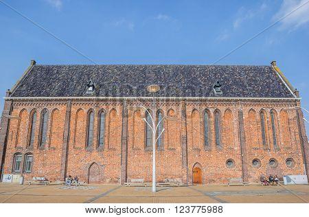 WINSCHOTEN, NETHERLANDS - MARCH 26, 2016: Reformed or Vitus church on the market square in Winschoten, Netherlands