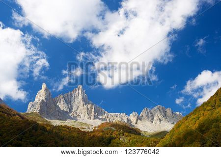 Peaks in Lescun Cirque. On the left Petite Aiguille Ansabere and to the right Grand Aiguille Ansabere. Aspe Valley, Pyrenees, France.