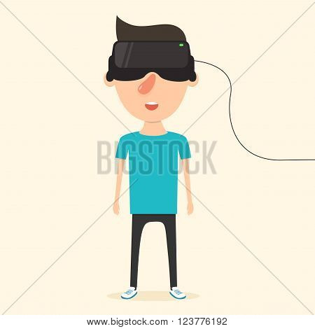 Man with glasses of virtual reality. The future has arrived. Cartoon style. Flat design. Vector illustration