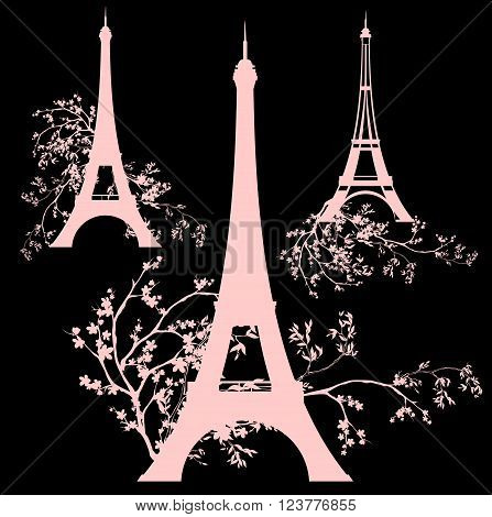 spring season in Paris silhouette design set - eiffel tower among flower branches collection