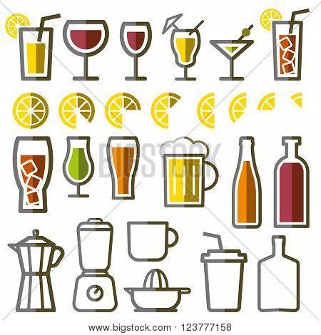 Beverage vector thin line symbol icon set