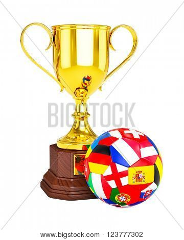 3d rendering of gold trophy cup and soccer football ball with countries flags isolated on white background