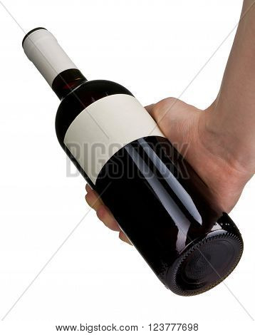 Man's hand holding red wine bottle isolated