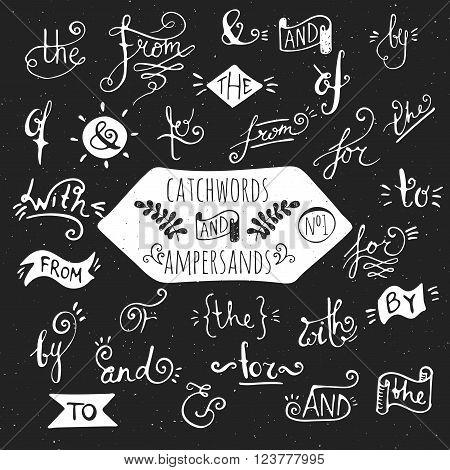 Big set number 1 of handdrawn ampersands and catchwords on black background. Design elements for banner, card, invitation, label, postcard, vignette, label, poster, emblem etc. Vector illustration.