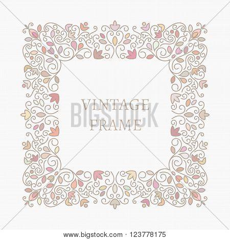 Elegant retro varicolored floral square frame. Design for banner, card, invitation, label, emblem etc. Lineart vintage vector illustration.