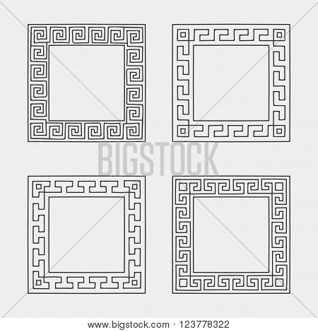 Vector set of four Square meander frames. Greek hand drawn border for banner, card, invitation, postcard, label, poster, emblem and other design elements. Vector isolated illustration.