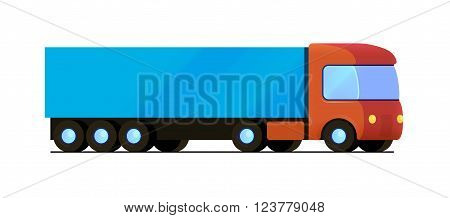 Vector isolated red truck with blue cargo trailer flat isometric