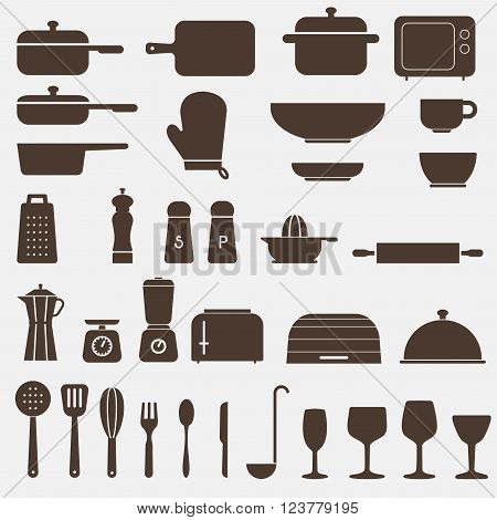 Kitchen Icon Set symbols - Vector Graphics