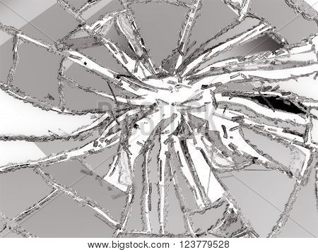 Shattered Or Damaged Glass Pieces Isolated