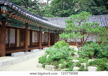 GYEONGJU CITY, NORTH GYEONGSANG PROVINCE / KOREA - CIRCA 1987: A courtyard with a garden at the historic Bulguksa Buddhist temple, which is a UNESCO Heritage Site.