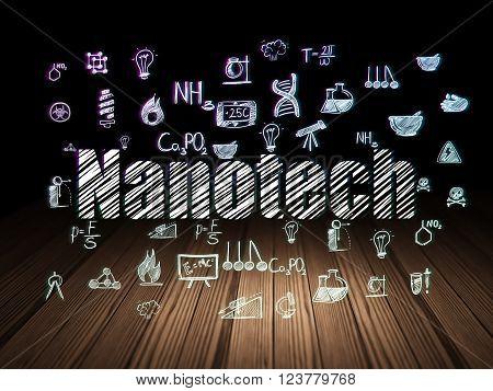 Science concept: Nanotech in grunge dark room