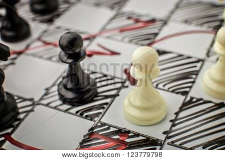 Chess. White and Black pawn facing each other on a white board. Pawns, infantry chess.