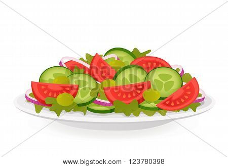 Fresh vegetable salad isolated on white background. Healthy food.