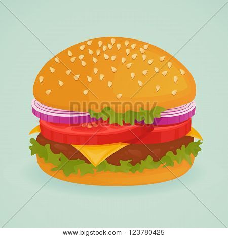 Delicious burger on blue background. Fast food. Unhealthy.