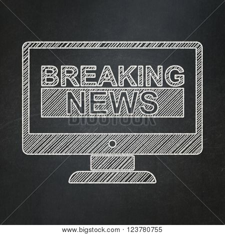 News concept: Breaking News On Screen on chalkboard background