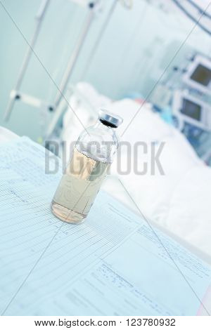 Medicine bottle on the patient bed background in ICU