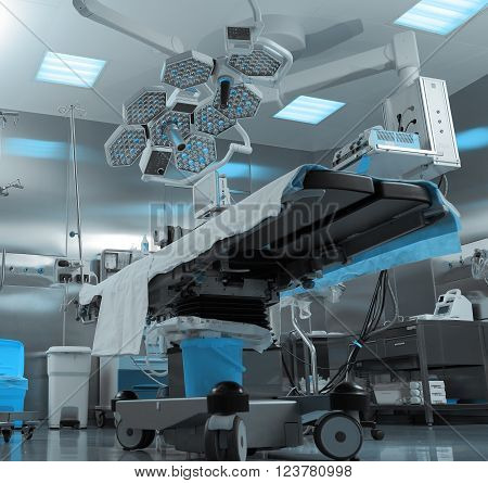 Modern operating room in hospital. Medical devices