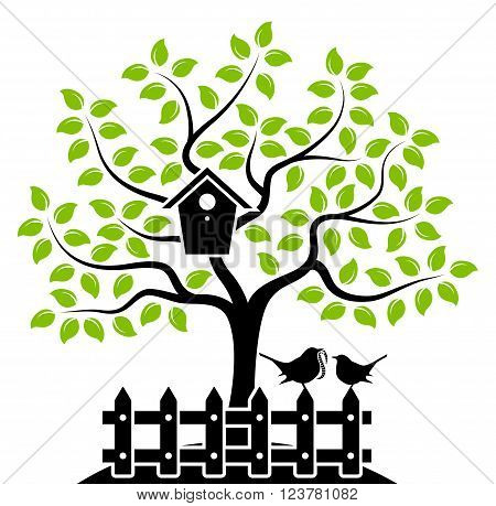 vector tree with nesting bird box and picket fence with mother bird and baby bird isolated on white background