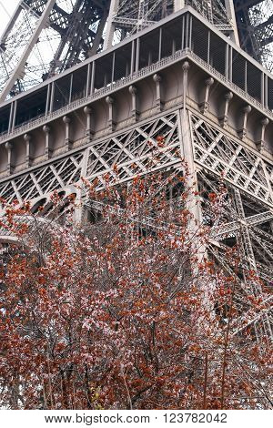 Eiffel Tower Paris France Europe. View of the famous travel and tourism icon at daytime in spring with blue sky