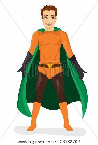 handsome young man in superhero costume standing legs apart isolated over white background