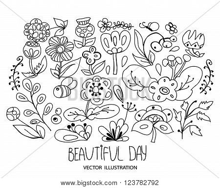 beautiful plain floral element floral vector background with set of floral elements monochrome black and white pattern with the words beautiful day on white background