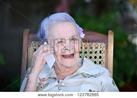 Happy Grandma Talk With Phone