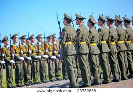 Omsk, Russia - July 07, 2011: International exhibition of high-tech equipment and weapons, military parade