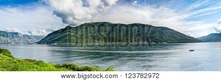 Top aerial panoramic view on Kotor bay on summer day in Montenegro