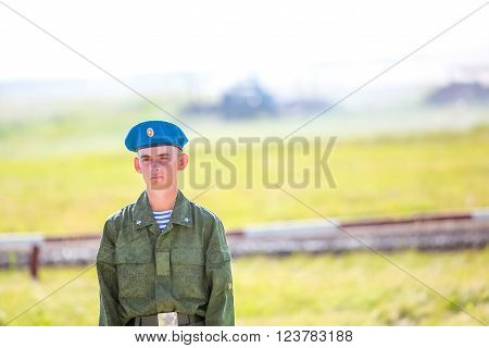 Omsk, Russia - July 07, 2011: International exhibition of high-tech equipment and weapons, alone soldier on maneuvers