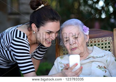 Grandma Learning Use Smartphone