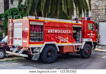 PERAST MONTENEGRO - JUNE 18: View on fire truck on June 18 2014 in Perast Montenegro