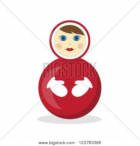 Roly-poly toy isolated on white background. Vector illustration flat design style.